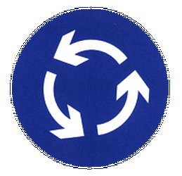 Traffic sign of China: Mandatory direction of the roundabout