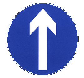 Traffic sign of China: Driving straight ahead mandatory
