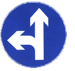 Traffic sign of China: Driving straight ahead or turning left mandatory