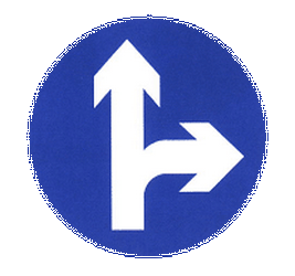 Traffic sign of China: Driving straight ahead or turning right mandatory