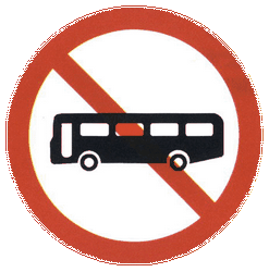 Traffic sign of China: Buses prohibited