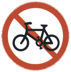 Traffic sign of China: Cyclists prohibited