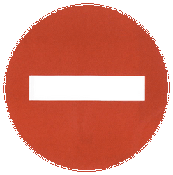 Traffic sign of China: Entry prohibited (road with one-way traffic)