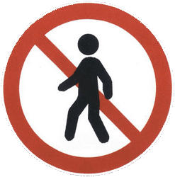 Traffic sign of China: Pedestrians prohibited