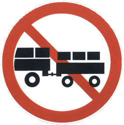 Traffic sign of China: Trucks with trailer prohibited