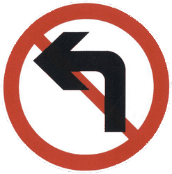 Traffic sign of China: Turning left prohibited