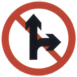 Traffic sign of China: Driving straight ahead or turning right prohibited