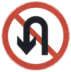 Traffic sign of China: Turning around prohibited (U-turn)