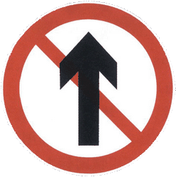 Traffic sign of China: Driving straight ahead prohibited