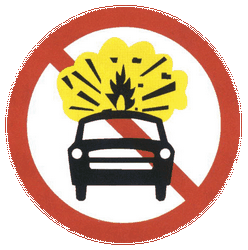 Traffic sign of China: Vehicles with explosive materials prohibited