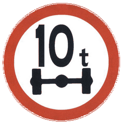 Traffic sign of China: Vehicles with an axle weight heavier than indicated prohibited