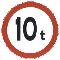 Traffic sign of China: Vehicles heavier than indicated prohibited