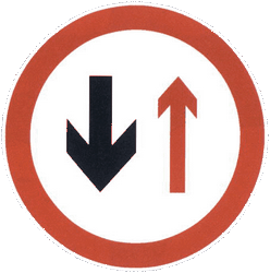Traffic sign of China: Road narrowing, give way to oncoming drivers