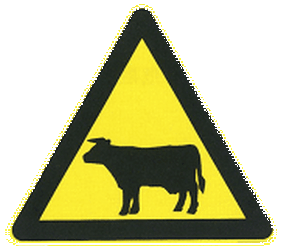 Traffic sign of China: Warning for cattle on the road