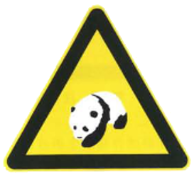 Traffic sign of China: Warning for pandas on the road