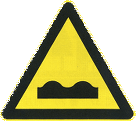 Traffic sign of China: Warning for a bad road surface