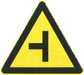 Traffic sign of China: Warning for an uncontrolled crossroad with a road from the left