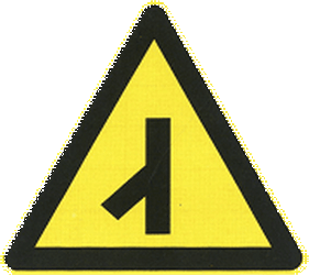 Traffic sign of China: Warning for an uncontrolled crossroad with a sharp road from the left