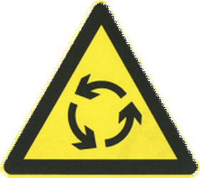 Traffic sign of China: Warning for a roundabout
