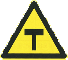 Traffic sign of China: Warning for an uncontrolled T-crossroad