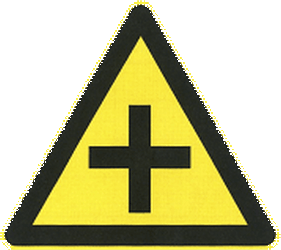 Traffic sign of China: Warning for an uncontrolled crossroad