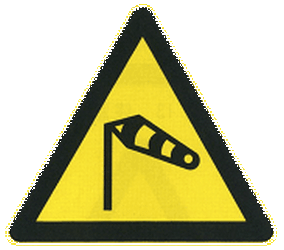 Traffic sign of China: Warning for heavy crosswind