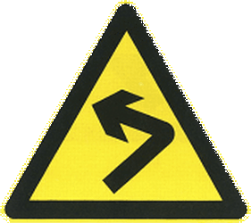 Traffic sign of China: Warning for a curve to the left
