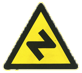 Traffic sign of China: Warning for a double curve, first right then left