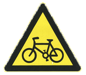 Traffic sign of China: Warning for cyclists