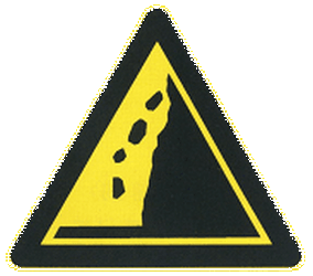 Traffic sign of China: Warning for falling rocks