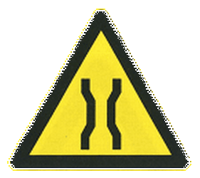 Traffic sign of China: Warning for a narrowing
