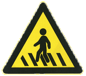 Traffic sign of China: Warning for a crossing for pedestrians