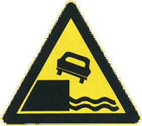 Traffic sign of China: Warning for a quayside or riverbank