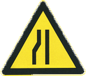 Traffic sign of China: Warning for a road narrowing on the left
