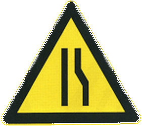 Traffic sign of China: Warning for a road narrowing on the right