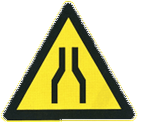 Traffic sign of China: Warning for a road narrowing