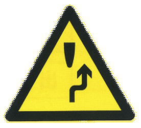Traffic sign of China: Warning for an obstacle, pass on the right side