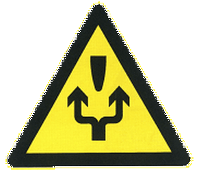 Traffic sign of China: Warning for an obstacle, pass either side