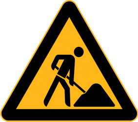 Traffic sign of China: Warning for roadworks