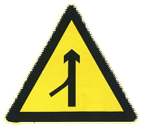 Traffic sign of China: Warning for a side road merging with the main road