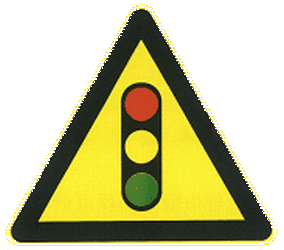 Traffic sign of China: Warning for a traffic light