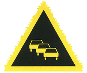 Traffic sign of China: Warning for traffic jams