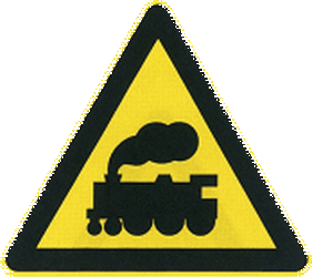 Traffic sign of China: Warning for a railroad crossing without barriers