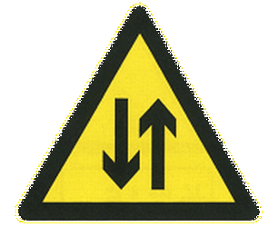 Traffic sign of China: Warning for a road with two-way traffic