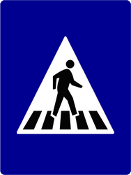 Traffic sign of Indonesia: Crossing for pedestrians