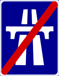Traffic sign of Indonesia: End of the motorway