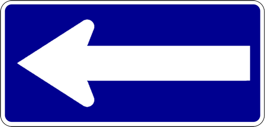 Traffic sign of Indonesia: Road with one-way traffic