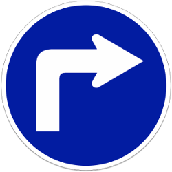 Traffic sign of Indonesia: Turning right mandatory