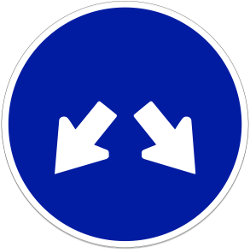 Traffic sign of Indonesia: Passing left or right mandatory