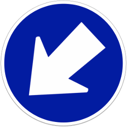 Traffic sign of Indonesia: Passing left mandatory